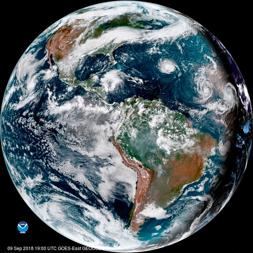 (NOAA via AP). This enhanced satellite image provided by NOAA shows Hurricane Florence, third from right, in the Atlantic Ocean on Sunday, Sept. 9, 2018. At right is Tropical Storm Helene, and second from right is Tropical Storm Isaac.