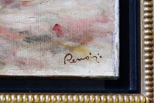 "(AP Photo/Mark Lennihan). Renoir's signature is visible in the corner of his painting ""Femmes Dans Un Jardin"" at a news conference, Wednesday, Sept. 12, 2018, in New York. The 1919 oil painting was seized in Paris by the Nazis from Sylvie Sulitzer's gr..."