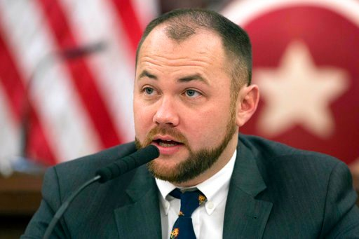 (AP Photo/Mark Lennihan File). FILE- In this Nov. 10, 2014 file photo, New York City Councilman Corey Johnson speaks at a hearing in introducing legislation making it easier for transgender people to change the sex on their birth certificates. The New ...