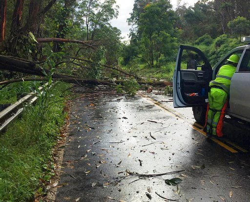 (Hawaii Department of Transportation via AP). This photo provided by the Hawaii Department of Transportation shows tree limbs that have blocked the Hana Highway near Hana on the island of Maui Wednesday, Sept. 12, 2018. Maui was hit with heavy rain and...