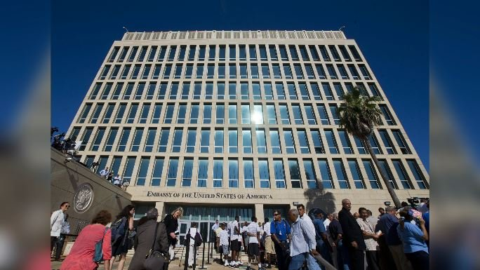 The US Embassy in Havana, Cuba, before the start of the flag raising ceremony, Friday, Aug. 14, 2015. (AP Photo/Pablo Martinez Monsivais)