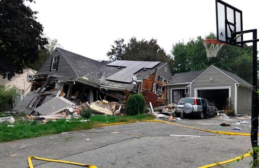 (Carl Russo/The Eagle-Tribune via AP). A house is destroyed in Lawrence, Mass., Thursday, Sept. 13, 2018 after a series of gas explosions in the area. First-responders continued to fight at least 50 fires in Lawrence, Andover and North Andover Mass., T...