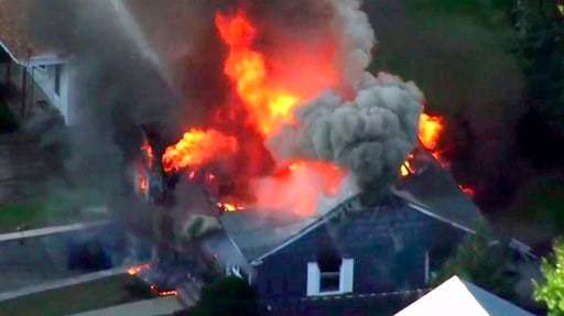 (WCVB via AP). In this image take from video provided by WCVB in Boston, flames consume a home in Lawrence, Mass, a suburb of Boston, Thursday, Sept. 13, 2018. Emergency crews are responding to what they believe is a series of gas explosions that have ...