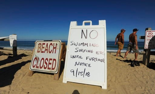 (Merrily Cassidy/The Cape Cod Times via AP). Two signs at the top of the dune at Newcomb Hollow Beach alert visitors that the beach is closed to swimming, Saturday, Sept. 15, 2018, in Wellfleet, Mass. A Revere man died after being bitten by a shark off...