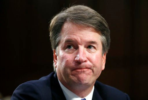 (AP Photo/Alex Brandon). In this Sept. 6, 2018 photo, Supreme Court nominee Brett Kavanaugh reacts as he testifies after questioning before the Senate Judiciary Committee on Capitol Hill in Washington. Official Washington is scrambling Monday to assess...