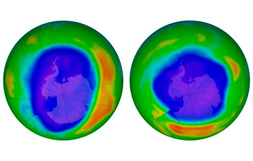 (NASA via AP). This combination of images made available by NASA shows areas of low ozone above Antarctica on September 2000, left, and September 2018. The purple and blue colors are where there is the least ozone, and the yellows and reds are where th...