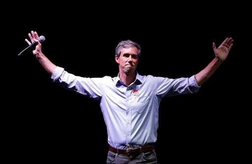 (AP Photo/Eric Gay). U.S. Rep. Beto O'Rourke, the 2018 Democratic Candidate for U.S. Senate in Texas, makes his concession speech at his election night party, Tuesday, Nov. 6, 2018, in El Paso, Texas.