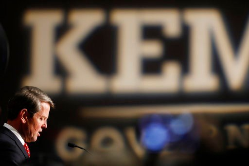 (Joshua L. Jones/Athens Banner-Herald via AP). Georgia Republican gubernatorial candidate Brian Kemp speaks with supporters after a long election night in Athens, Ga., Wednesday, Nov. 7, 2018. Georgia's hotly contested and potentially historic governor...