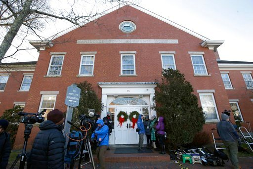 (AP Photo/Steven Senne). Members of the news media stand outside the Nantucket Town & County Building, awaiting arrival of actor Kevin Spacey for arraignment on a charge of indecent assault and battery, Monday, Jan. 7, 2019, in Nantucket, Mass. The...