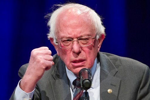 (AP Photo/Alex Brandon, File). FILE - In this Nov. 27, 2018, file photo, Sen. Bernie Sanders, I-Vt., speaks about his new book at a George Washington University/Politics and Prose event in Washington. Leading congressional liberals are unveiling a pack...