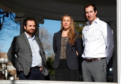 (AP Photo/David Zalubowski). In this Thursday, Dec. 20, 2018, photo, attorneys, from left, David Seligman, Nina DiSalvo and Alexander Hood of Denver's Towards Justice are shown outside the organization's office east of downtown Denver. In a deal filed ...
