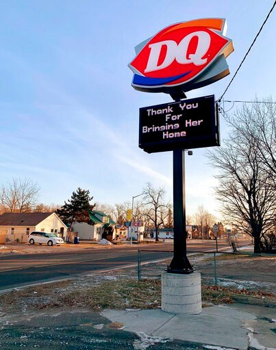 (AP Photo/Jeff Baenen). A thank you sign is displayed after Jayme Closs, a missing Wisconsin teenager was found alive more than three months after she disappeared, Friday, Jan. 11, 2019 in Barron, Wis.   Closs disappeared in October after her parents w...