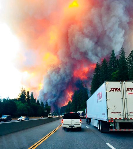 Fire roaring through Northern California triples in size